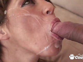 Cute brunette Britney Stevens gets her ass banged hard on couch