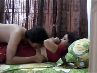 Indian duo having sultry orgy close by their bedroom