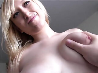 Busty Spanish blonde loves cum