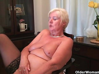 64 year old and British granny Sandie rubs say no to old pussy