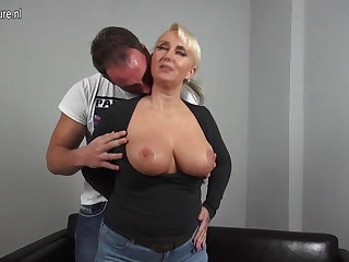 Chap-fallen big breasted German mom shagging young boy