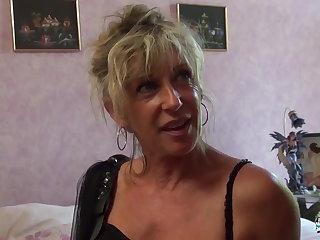 Dishearten Cochonne - Mature blonde French newbie gets cum covered