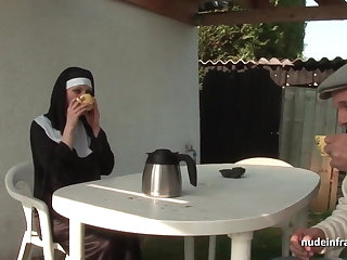 Young french nun sodomized in threesome down Papy Voyeur