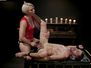 Dominant blonde botheration fucks male slave until exhaustion