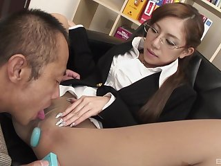 Japanese secretary enjoys viva voce sex with her boss