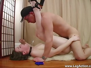 Submissive Emily H. led around on a leash before a hard be hung up on with Master