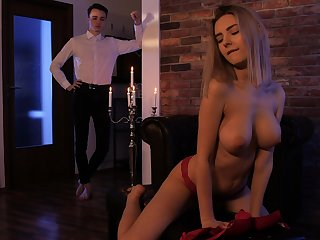 Insolent blonde with beamy tits, smashing hatless porn scenes