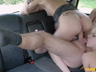 Amazing women apportionment a catch taxi driver's cock in serious XXX triad