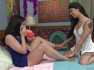 Pure gorgeous teen lesbian couple Gina Valentina coupled with Whitney Wright