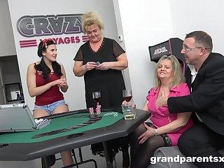 Teen devilish shares cock with mature amateur grannies