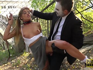 Teen with small tits Silvia Dellai gets a rough open-air doggy have a passion