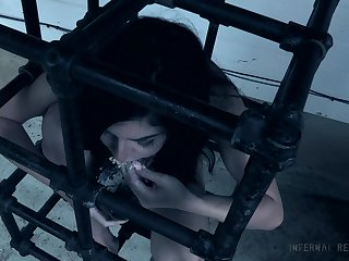 Innocent brunette teen babe Keira Croft locked up all over a cage