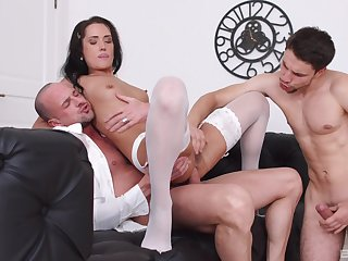 Angie Moon deals two dicks in burnish apply most amazing manners