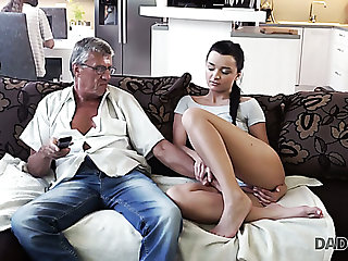 Slender girl Erica gets no attention outsider her BF and lures older baffle be useful to fuck