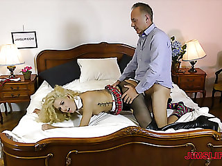 Monique Woods is a crunchy plow who works on strong cock of elder man