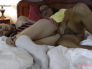 Cutie in white stockings Lola Taylor is fucked by nerdy rich out at the elbows