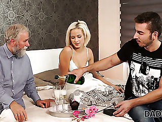 Lewd whiskered fellow-worker lets older defy please his own slender GF Ria Sun