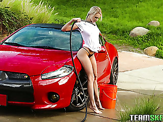 This teen knows to whatever manner to make car wash look hot and she loves sexy MILFs