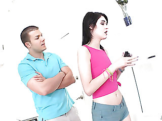 Skinny teen Ivy Aura playing with pussy and sucking massive cock