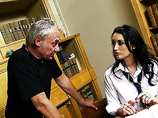 Spoiled busty coed chick in scornful heels gets punished by her two tutors