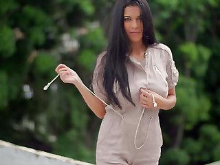 Pretty nice Kendra Run away unbuttons the brush shirt as she wanna screw around with boobies