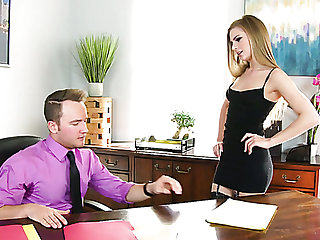 Poor secretary Sydney Cole fucks her perverted boss for a promotion