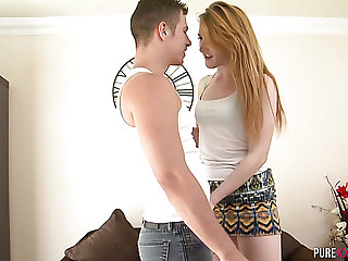 All sincere chestnut haired cutie sucks her BF's lollicock before hard doggy