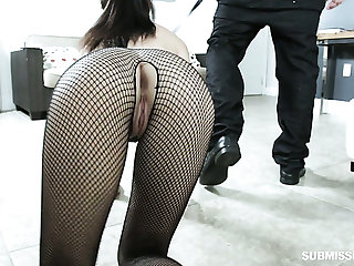 Hoochie in ripped fishnet pantyhose Jasmine Vega gives her head before a crazy lovemaking with her ex-bf