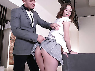 Horn-mad pencil joins stunning Irish English colleen chick Sofy Torn and fucks her hard