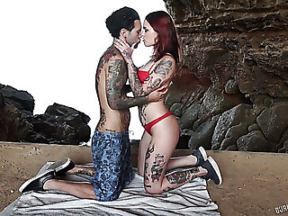 Sex-mad tattooed Spanish nympho Silvia Rubi fucks on every side BF all round the cave
